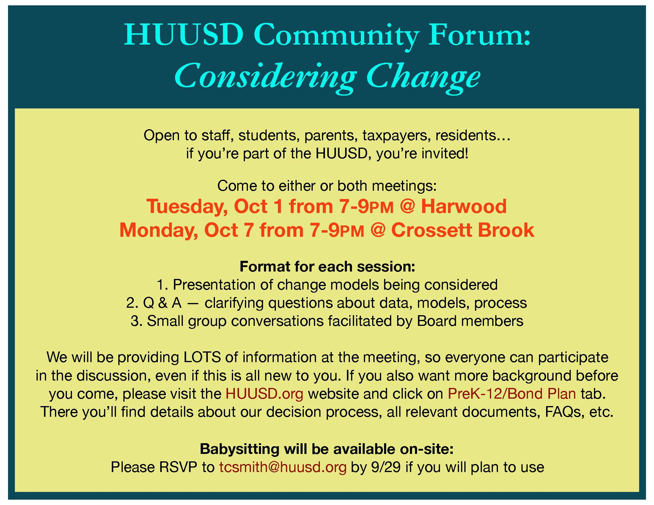 HUUSD Community Forums October 1 and October 7 - Featured Image